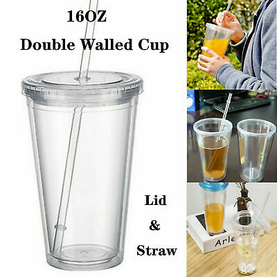 £4.57 • Buy 16OZ Double Walled Cup Plastic Clear With Lid And Straw Insulated Drinks E1Z0