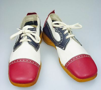 8.5M Road Runners Leather Shoe Red White Blue Lace Up Costume Retro  • 40.17£