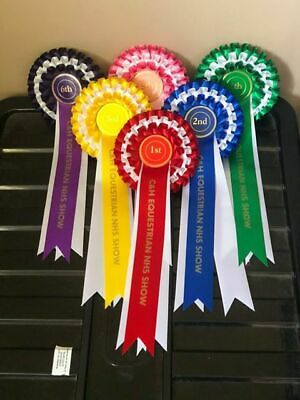£6.75 • Buy 1st To 6th - 3 Tier Horse Or Dog Show Rosettes WITH TAIL PRINT OF YOUR CHOICE
