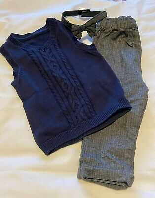 £1.59 • Buy Baby Outfit. Trousers, Bow Tie. Shirt. Vest. 9-12 Months. Worn Once. 2 Available