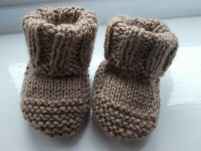 New - Hand Knitted Baby Bootees - Brown - Size Newborn • 1.95£