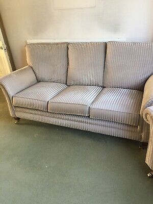 3 Piece Suite And Foot Stool Used Furniture Two Tone 'fudge' Stripe  • 50£