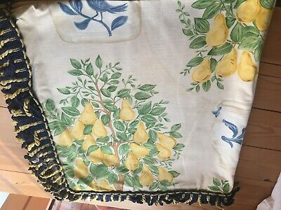 Vintage Jane Churchill Table Cloth- Fabric Pear Tree 112 Cm Square With Fringe • 25£