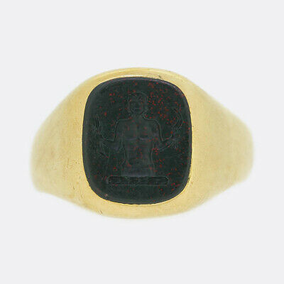 £1265 • Buy Gold Signet Ring - Art Deco 1930's Bloodstone Intaglio Ring 18ct Yellow Gold