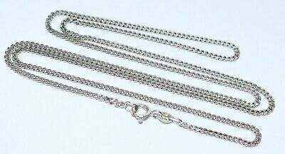 AU335 • Buy Top Quality Italian Solid 9Kt W/Gold 62Cm Long Flat Link Necklace Chain Wt 7.4Gr