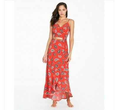 AU22.50 • Buy Tigerlily Frill Skirt And Crop Top Set Allegra Red Paisley Size 10 Wrap