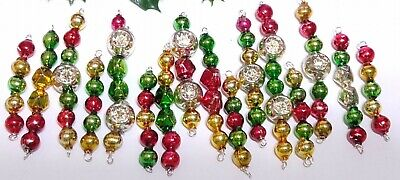 $ CDN63.48 • Buy Vintage Mercury Glass Bead Icicles 16 Christmas Ornaments INDENT Red Green Gold