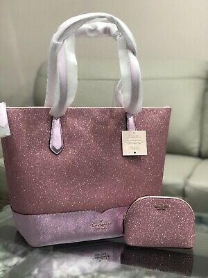 $ CDN189 • Buy NWT Kate Spade Large Lola Glitter Tote Pink Handbag Laptop Bag + Makeup Bag Set