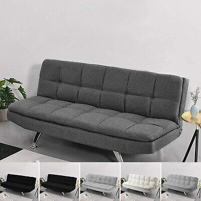 Padded Sofa Bed Fabric 3 Seater Padded Sofabed Suite Chrome Legs Cube Design New • 165.99£