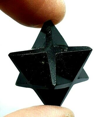 Black Obsidian Merkaba Star Reiki Energy Charged Crystal Healing Protective Gem • 6.45£