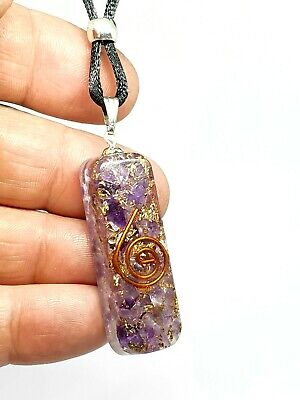 Orgone Amethyst Pendant Gemstone EMF Copper Orgonite Protection Cord Necklace • 5.95£