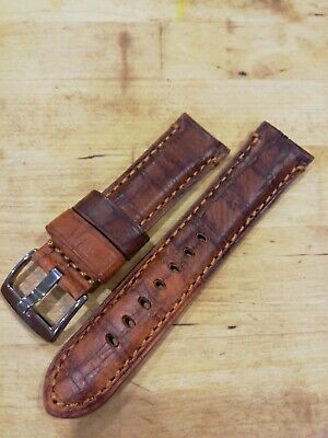 Mens TZEVELION 22 & 24mm Mid Brown  Antiqued Italian Leather Watch Strap • 9.50£