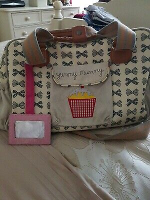 Pink Lining Yummy Mummy Baby Changing Bag  Beige With Bow Pattern  • 9.50£