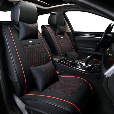 $68.99 • Buy Luxury Leather Car Seat Covers Protector Universal Fit 5-Seat Front Rear Cushion