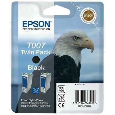 Epson T007 Twin Pack Black Ink Cartridges - C13T00740210 • 40£