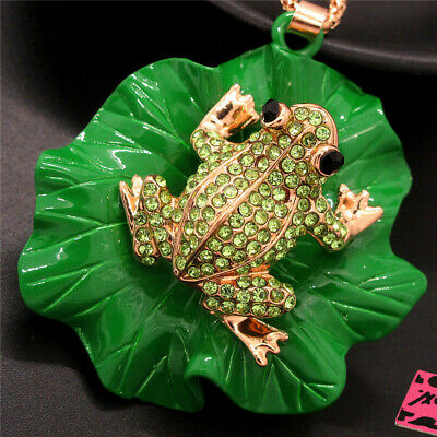 $ CDN2.31 • Buy Betsey Johnson Crystal Cute Green Frog Lotus Leaf Pendant Chain Necklace