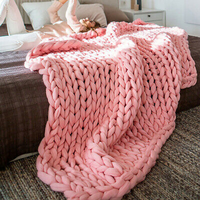 £28.95 • Buy Chunky Knit Blanket Thick Yarn Knitted Cable Blanket Sofa Chair Mat Pillow Throw