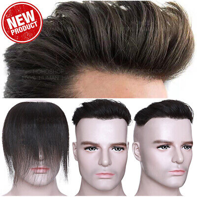 £71.29 • Buy Thin Skin Toupee Men's 130% Human Hair V Hairpiece Topper Wigs Hairline Black PU