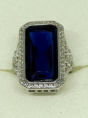 Hallmarked 925 Sterling Silver Princess Cut 8.2ct Blue Sapphire Huge Ring Size L • 6£