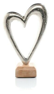 Metal Silver Love Heart Decoration Wooden Stand Ornament Shabby Chic Decor Home • 11.99£