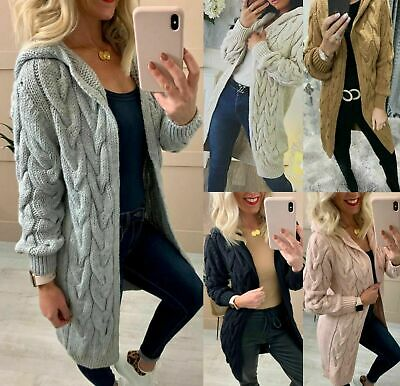£17.95 • Buy Women Ladies Chunky Cable Knitted Oversized Long Hooded Cardigan Jumper Cape Top