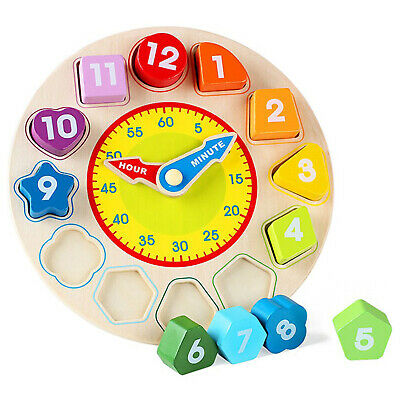 £8.95 • Buy Children Kids Wooden Wood Learning Clock Shape Puzzle Early Educational Toy UK