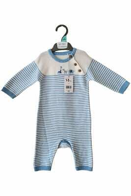 £7.99 • Buy Baby Boys Knitted Blue White Zoo Animal Romper Babygrow All In One Outfit