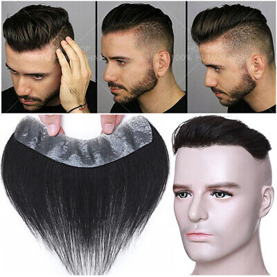 £71.29 • Buy Men Toupee 130% Human Hair Forehead Hairline Mono PU Topper Hairpiece Wig Black