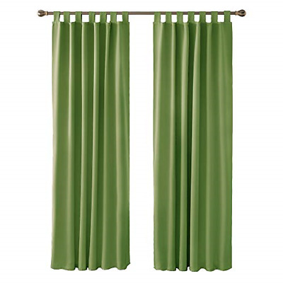 £34.50 • Buy Deconovo Green Curtains Thermal Insulated Room Darkening Curtains Tab Top For X