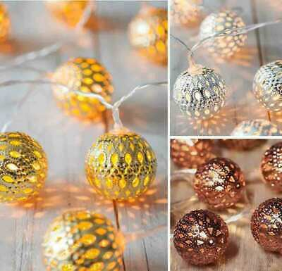 10/20/40LED Moroccan Ball Fairy Lights Battery Operated String Light Party Lamps • 7.99£