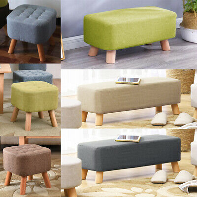Linen Fabric Footstool Padded Pouffe Seat Footrest Chair Bench Living Bedroom UK • 26.95£