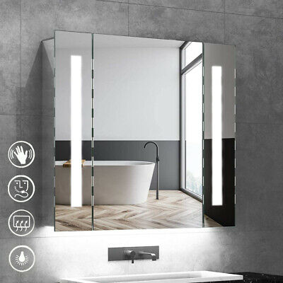LED Bathroom Mirror Cabinet Lights Illuminated With Demister Shaver Socket Touch • 57.99£