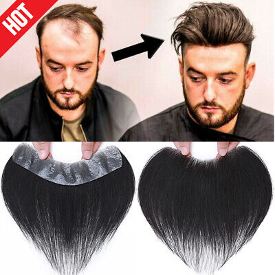 £71.29 • Buy Natural Hairline Thin PU Toupee Topper Men Real Human Hair Hairpiece Wigs Black