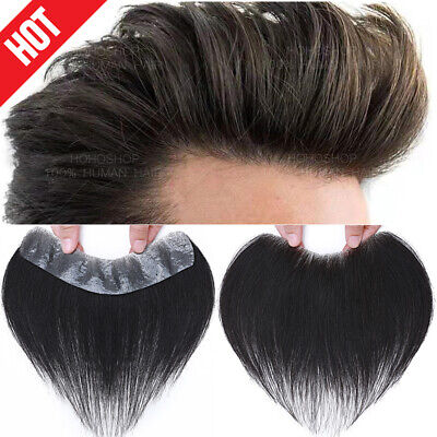 £71.29 • Buy Forehead Hairline Thin Skin PU Toupee Topper Men Human Hair Hairpiece Wigs Black