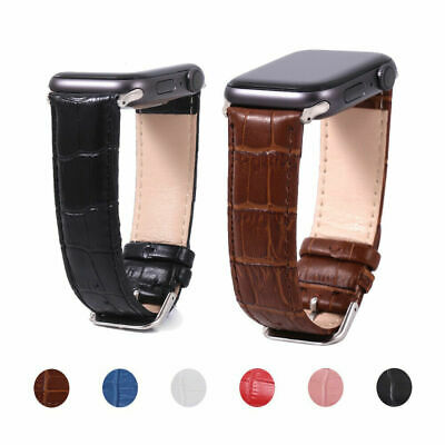 $ CDN13.12 • Buy For Apple Watch Band Strap Genuine Leather IWatch Series 6 5 4 3 2 38/40 42/44mm