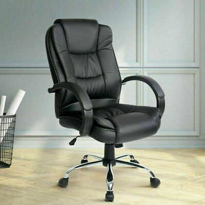 AU193.99 • Buy Executive Premium PU Leather Office Computer Chair W/ Stylish Chrome Base Black