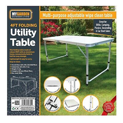 £29.95 • Buy 4ft Folding Camping Table Aluminium Picnic Portable Adjustable Party Bbq Outdoor