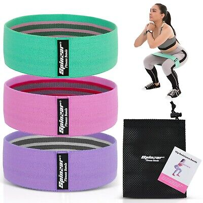 AU19.95 • Buy Fabric Resistance Booty Bands Set-3 Hip Circle Workout FREE Exercise Guide & Bag