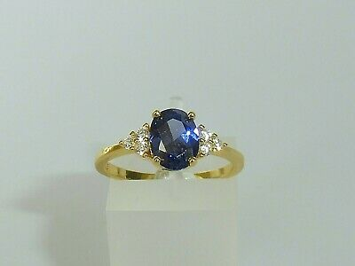 £24.79 • Buy Ladies 18 Carat Gold & 925 Sterling Silver Tanzanite And White Sapphire Ring