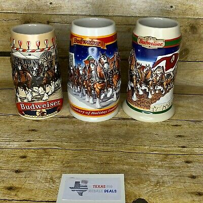 $ CDN56.23 • Buy Budweiser Lot Of 3 Steins Holiday Clydesdales Anheuser-Busch 1986  B  1998 1999