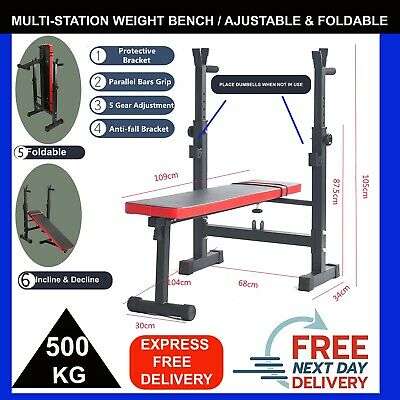 £63 • Buy Folding Flat Weight Lifting Bench Body Workout Exercise Benches Home Gym Fitness