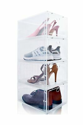 $60.99 • Buy Drop Front Shoe Box, Set Of 4, Stackable, For Men And Women - Clear, Plastic ...