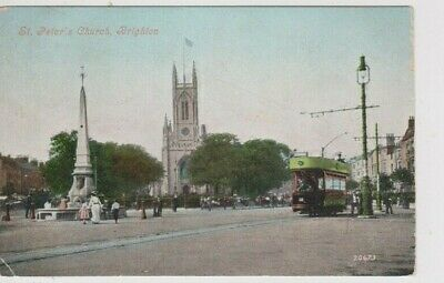 £3.50 • Buy Brighton - Tram And St Peter's Church Colour Postcard (1906)