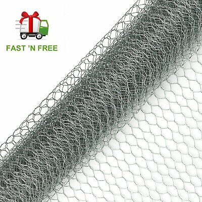 Galvanised Chicken Wire Mesh Netting Rabbit Cage Aviary Fence Plant Net • 13.95£