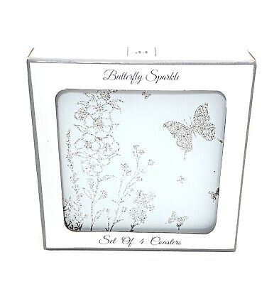 £9.99 • Buy Set Of 4 Coasters Butterfly Sparkle Glitter Tableware Glass Valentines Day Gift