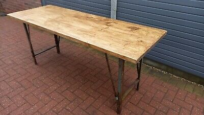 Solid Wood 6FT Dining Table Metal Folding Legs • 250£
