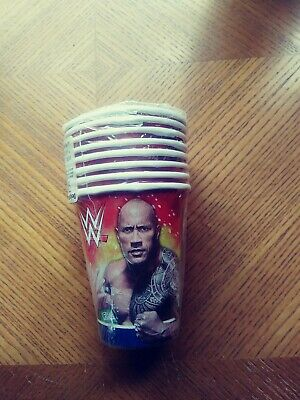 WWE Wrestling Birthday Party Supplies.8 Cups Hot Or Cold The Rock 2014 • 10.75£