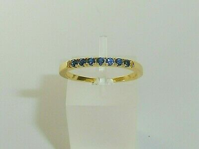 £18.15 • Buy Ladies 925 Solid Silver & 18 Carat Gold 7 Stone Blue Sapphire Half Eternity Ring