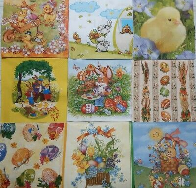 £1.99 • Buy 9 Different Paper Napkins For Decoupage Crafts Easter Chicken Eggs Rabbit E1