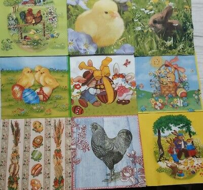 £1.99 • Buy 9 Different Paper Napkins For Decoupage Crafts Easter Chicken Eggs Rabbit E2